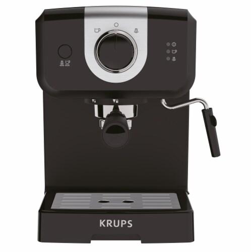 Krups 2x Shot Stream & Pump Espresso & Cappuccino Maker - Black Perspective: front