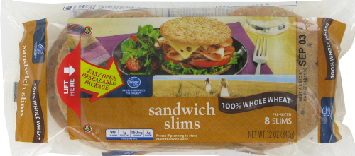 Kroger® 100% Whole Wheat Sandwich Slims 8 Count Perspective: front