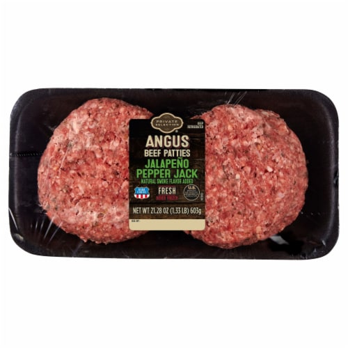 Kroger® Jalapeno And Pepper Jack Beef Patties Perspective: front