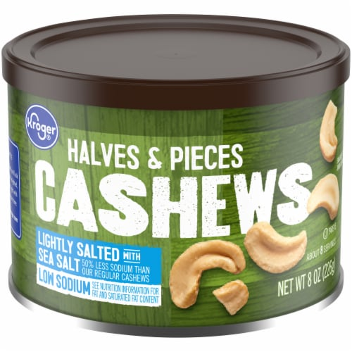 Kroger® Lightly Salted with Sea Salt Cashews Halves & Pieces Perspective: front