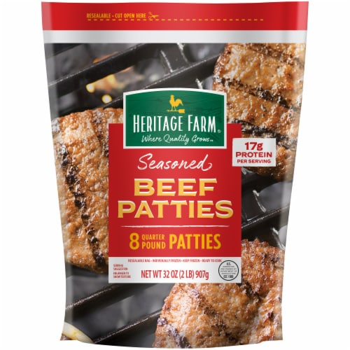Heritage Farm® Seasoned Quarter Pound Beef Patties Perspective: front