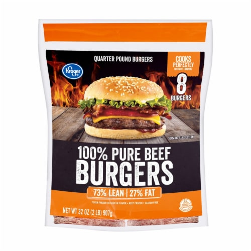 Kroger® 100% Pure Beef Quarter Pound Burgers Perspective: front