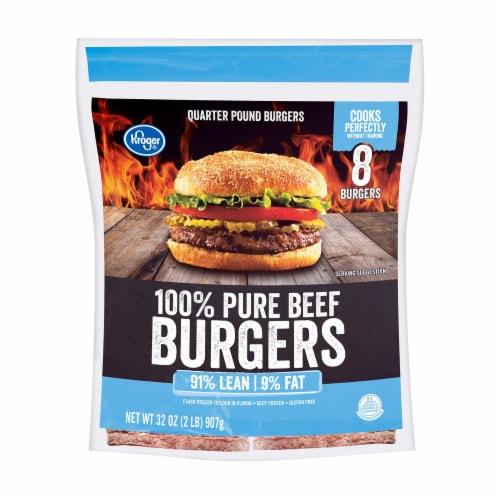 Kroger 91% Lean Frozen Ground Beef Burger Perspective: front