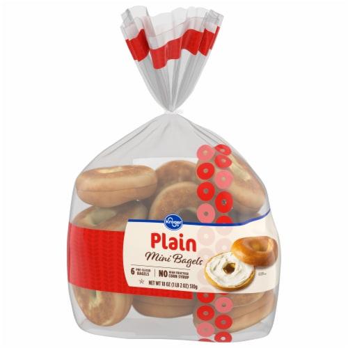 Kroger® Pre-Sliced Plain Mini Bagels Perspective: front