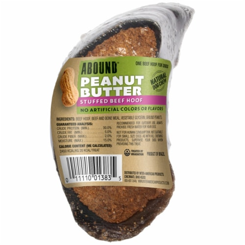 Abound Peanut Butter Stuffed Beef Hoof Dog Treat Perspective: front