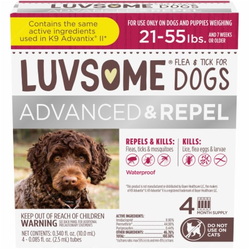 Luvsome Advanced + Repel Flea & Tick Drops for Dogs Perspective: front