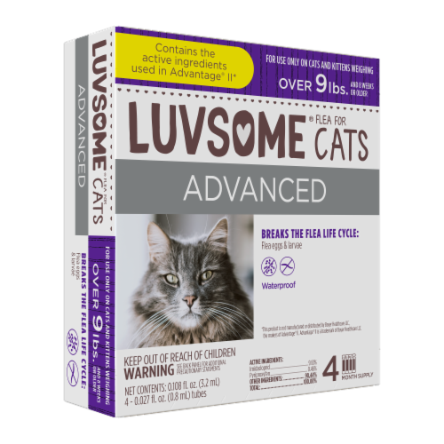 Luvsome Advanced Flea & Tick Drops for Cats Perspective: front