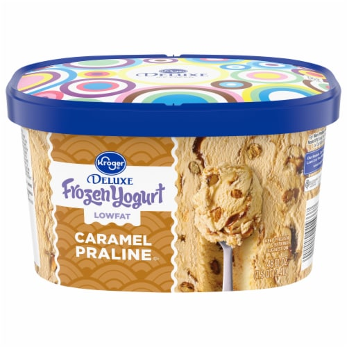 Kroger® Deluxe Caramel Praline Lowfat Frozen Yogurt Perspective: front