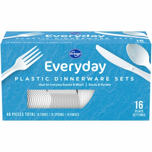 Kroger® Everyday White Plastic Dinnerware Sets Perspective: front