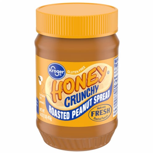 Kroger® Roasted Peanuts & Honey Crunchy Peanut Butter Jar Perspective: front