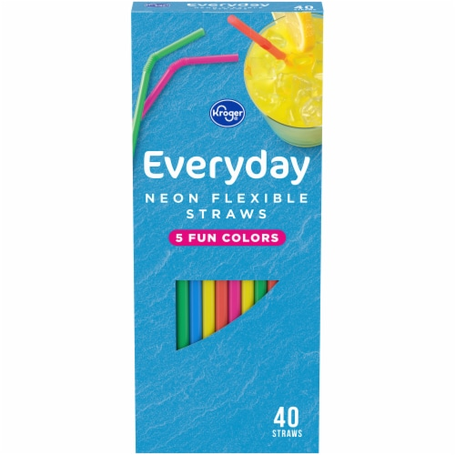 Kroger® Everday Neon Flexible Straws Perspective: front