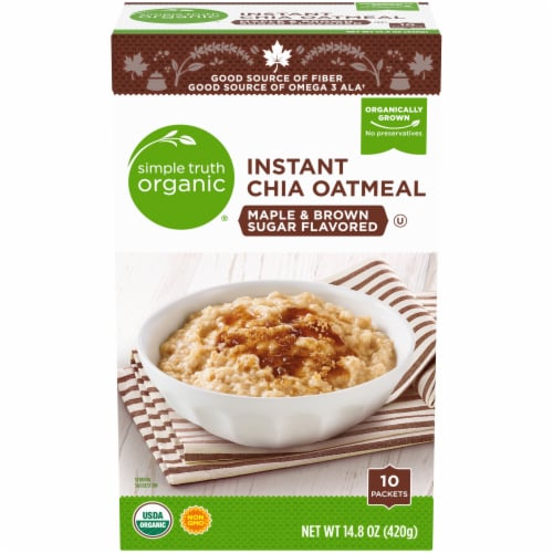 Simple Truth Organic® Instant Maple & Brown Sugar Flavored Chia Oatmeal Perspective: front