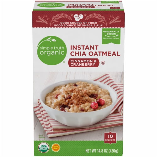 Simple Truth Organic® Instant Cinnamon & Cranberry Chia Oatmeal Packets Perspective: front