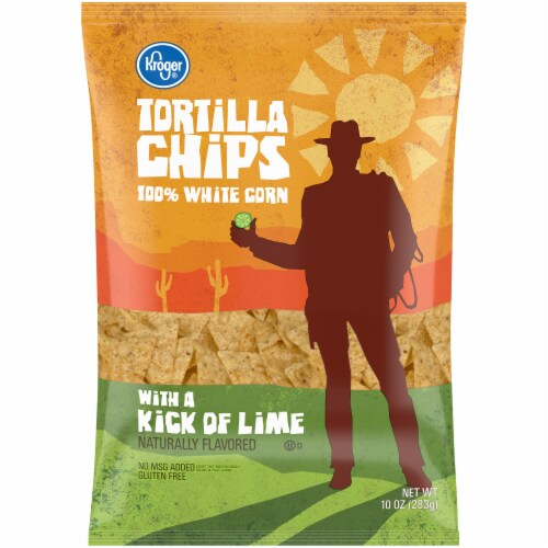 Kroger Kick of Lime 100% White Corn Tortilla Chips Perspective: front