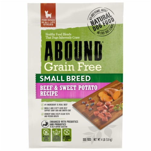 Abound Small Breed Beef & Sweet Potato Recipe Dry Adult Dog Food Perspective: front