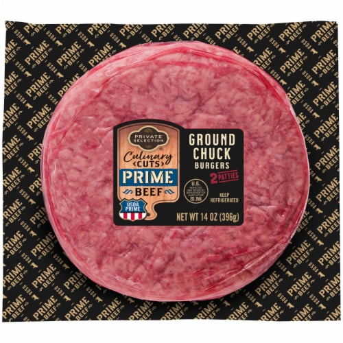 Private Selection™ Culinary Cuts Prime Beef Ground Chuck Burgers 2 Count Perspective: front