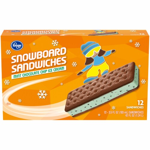 Kroger® Mint Chocolate Chip Ice Cream Snowboard Sandwiches Perspective: front