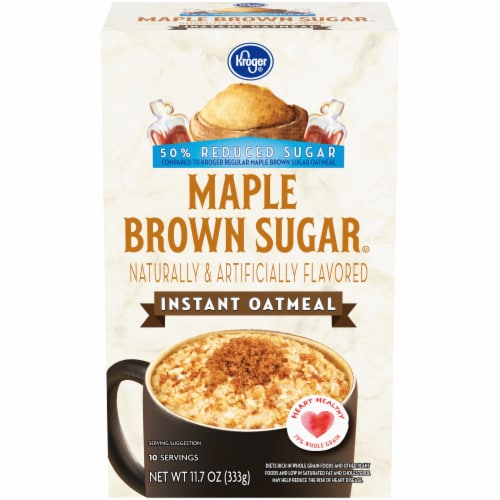 Kroger® Reduced Sugar Maple Brown Sugar Instant Oatmeal Packets Perspective: front