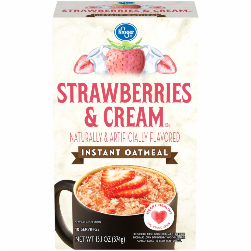Kroger® Strawberries & Cream Instant Oatmeal Packets Perspective: front