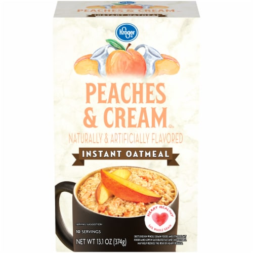 Kroger® Peaches & Cream Flavored Instant Oatmeal Packets Perspective: front