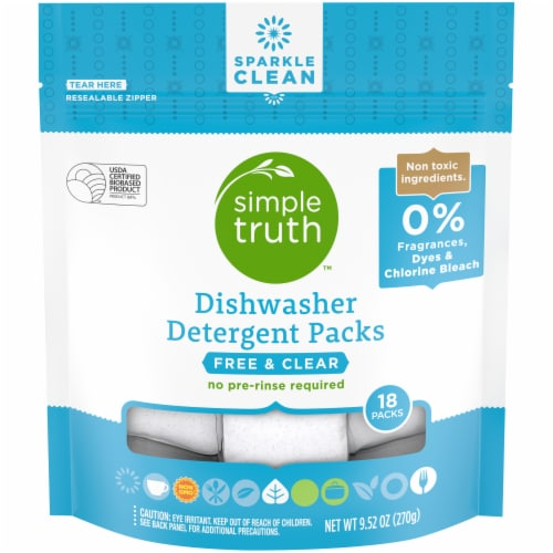 Simple Truth™ Free & Clear Dishwasher Detergent Packs 18 Count Perspective: front