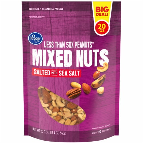 Kroger® Salted with Sea Salt Mixed Nuts Perspective: front