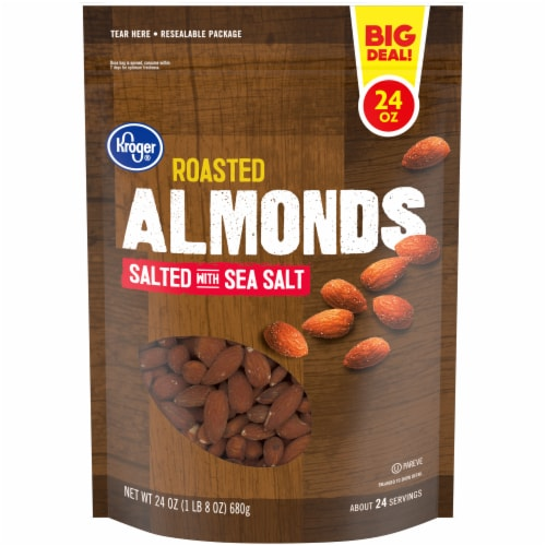 Kroger® Salted & Roasted Almonds Perspective: front