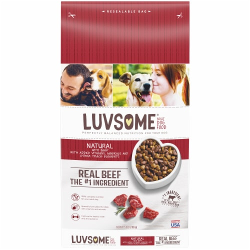 Luvsome® Natural Real Beef Adult Dry Dog Food Perspective: front