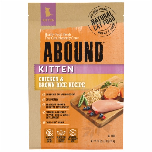 Abound® Chicken & Brown Rice Recipe Dry Kitten Food Perspective: front