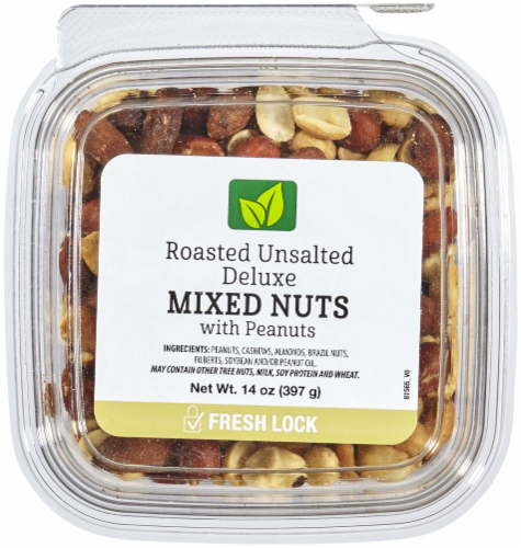 Roasted Unsalted Deluxe Mixed Nuts with Peanuts Perspective: front