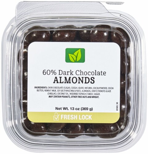 60% Dark Chocolate Almonds Perspective: front