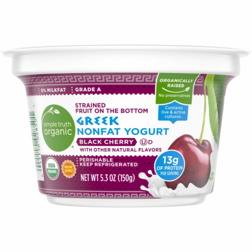 Simple Truth Organic® Strained Black Cherry Greek Nonfat Yogurt Perspective: front