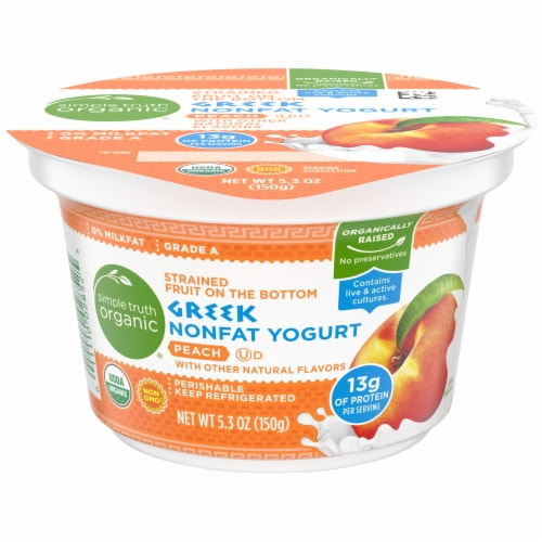 Simple Truth Organic™ Strained Peach Greek Nonfat Yogurt Perspective: front
