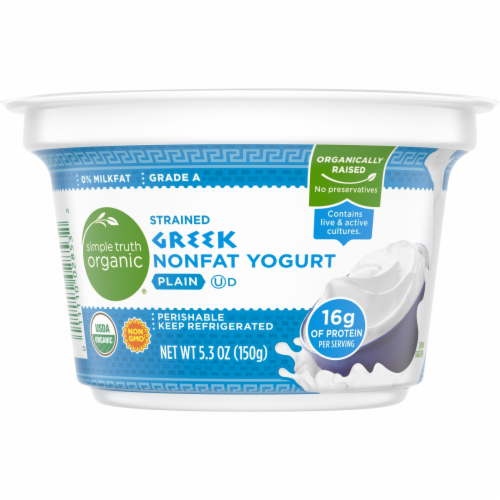 Simple Truth Organic® Strained Plain Nonfat Greek Yogurt Perspective: front