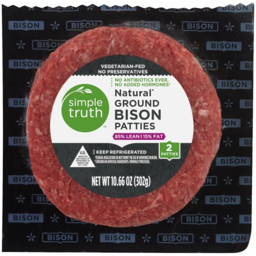 Simple Truth™ Natural 85% Lean Ground Bison Patties Perspective: front