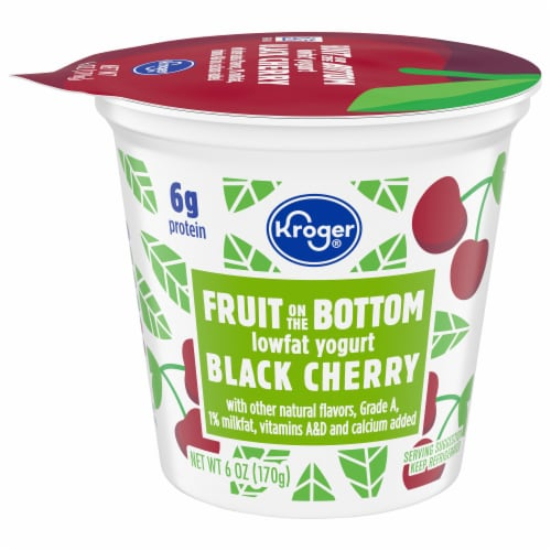 Kroger® Black Cherry Fruit on the Bottom Lowfat Yogurt Perspective: front