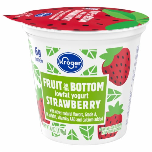 Kroger® Strawberry Fruit on the Bottom Lowfat Yogurt Perspective: front