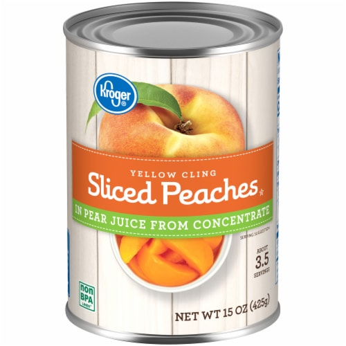 Kroger® Yellow Cling Sliced Peaches in Pear Juice Perspective: front