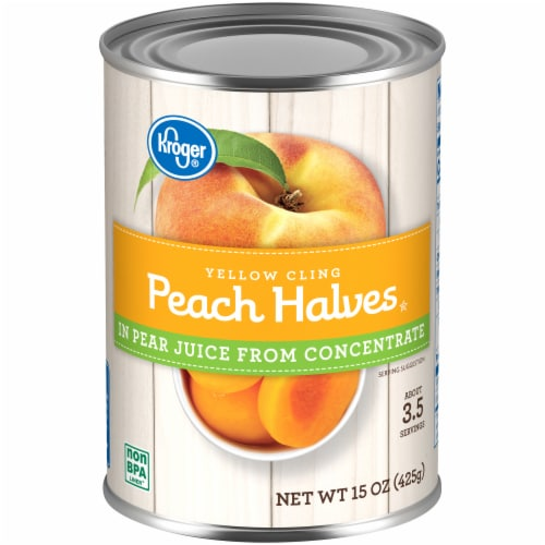 Kroger® Yellow Cling Peach Halves in Pear Juice Perspective: front