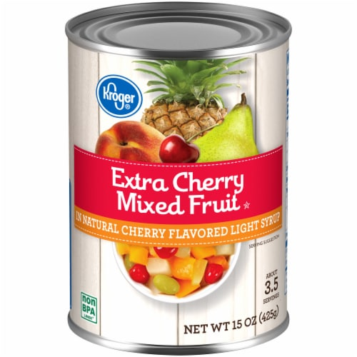 Kroger®  Extra Cherry Mixed Fruit in Natural Cherry Flavored Light Syrup Can Perspective: front