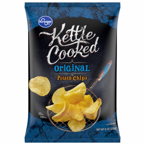 Kroger Kettle Cooked Original Potato Chips Perspective: front