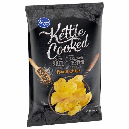 Kroger® Kettle Cooked Sea Salt & Cracked Pepper Potato Chips Perspective: front