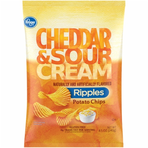Kroger® Cheddar & Sour Cream Ripples Potato Chips Perspective: front