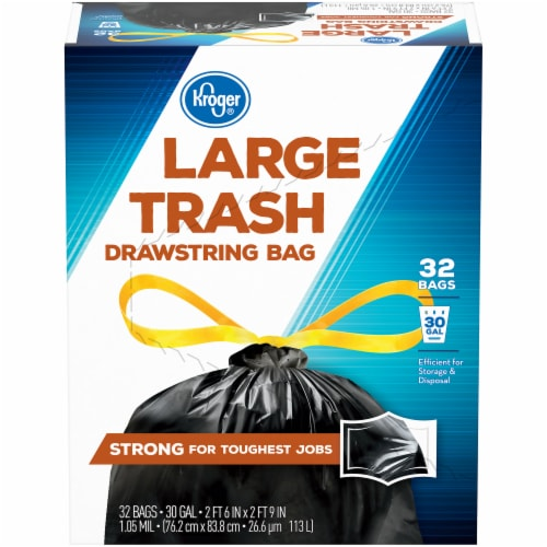 Kroger® Large 30 Gallon Drawstring Trash Bags Perspective: front