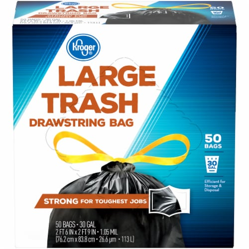 Kroger®  Large 30 Gallon Drawstring Trash Bags 50 Ct Box Perspective: front