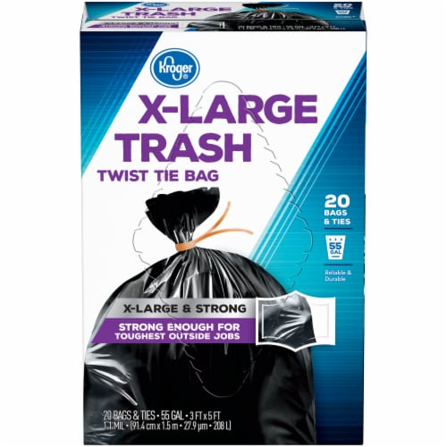 Kroger®  X-Large 55 Gallon Twist Tie Trash Bags Perspective: front
