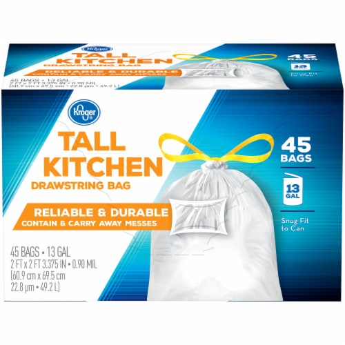 Kroger® Tall 13 Gallon Kitchen Drawstring Bags Perspective: front
