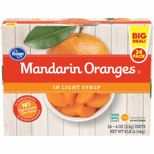Kroger® Mandarin Oranges in Light Syrup Cups 24 Count Perspective: front