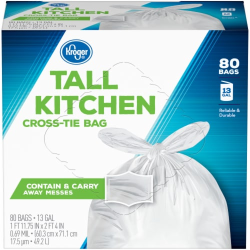 Kroger®  Tall 13 Gallon Kitchen Cross Tie Bags 80 Ct Box Perspective: front