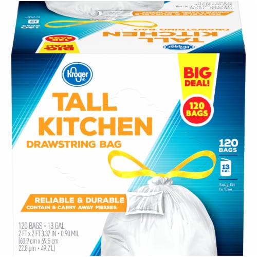Kroger® Tall 13 Gallon Kitchen Drawstring Trash Bags Perspective: front